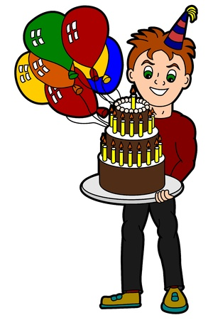 nice guy: Young adult cartoon man holding birthday cake and balloons Illustration