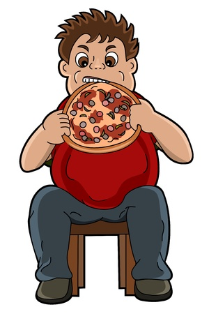 overeating: Fat boy eating pizza illustration, isolated on a white background