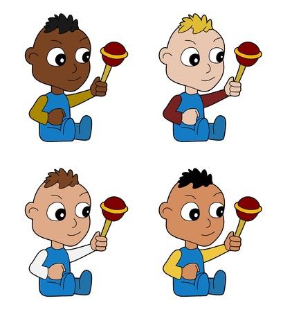 multirracial: Diversos multirraciais filhinhos beb