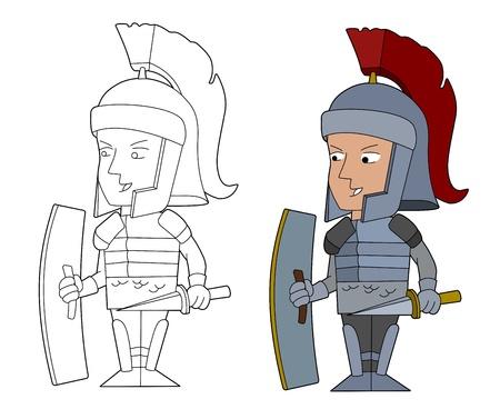 Roman llegionnaire illustration, coloring book line-art
