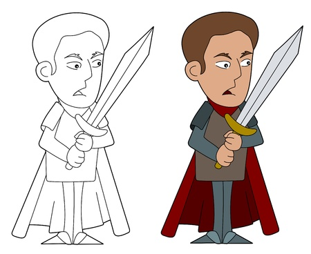 nobleman: Cartoon nobleman warrior illustration, coloring book line-art