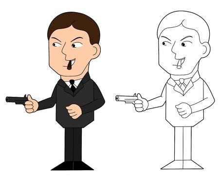 organized crime: Gangster holding gun and smoking cigar, illustration, clip-art