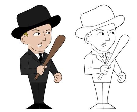 hoodlum: Gangster armed with a baseball bat, illustration, line-art Illustration