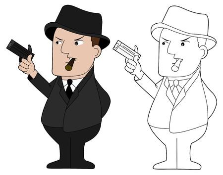 gang member: Gangster holding gun and smoking cigar, illustration, clip-art
