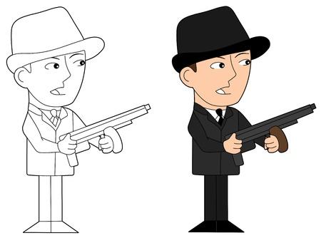 hoodlum: Illustration and line-art of gangster holding weapon Illustration