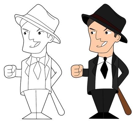 hoodlum: Gangster holding a baseball bat, illustration, line-art