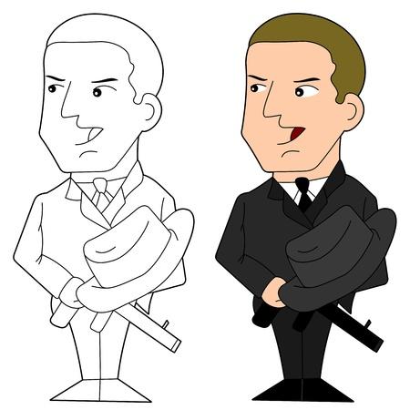 gang member: Illustration of a gangster holding gun and hat