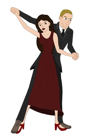 Ballroom dancers couple isolated on a white background Vector