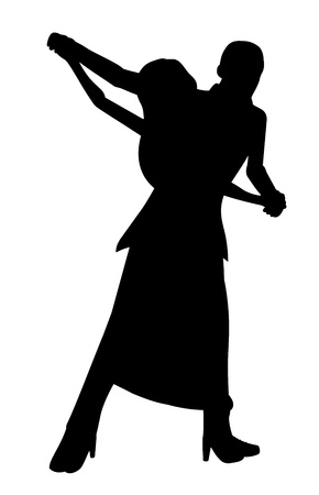 Couple of dancers, silhouette isolated on a white background Vector
