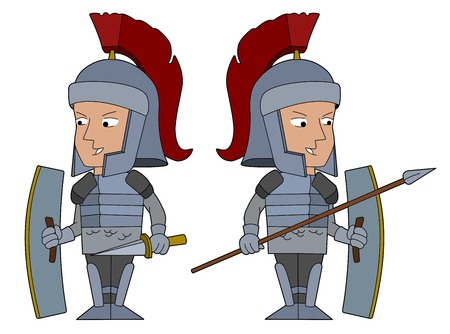 Roman legionnaire set, warriors with sword and spear, isolated on awhite background Illustration