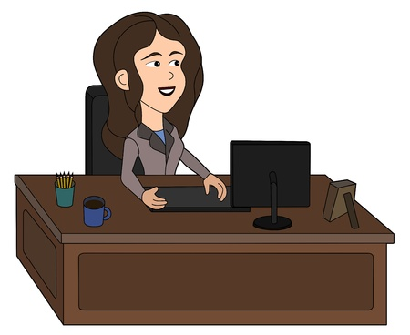 Illustration of a businesswoman sitting at her desk working