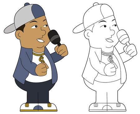 Hip hop guy with microphone, illustration, coloring book line-art Vector