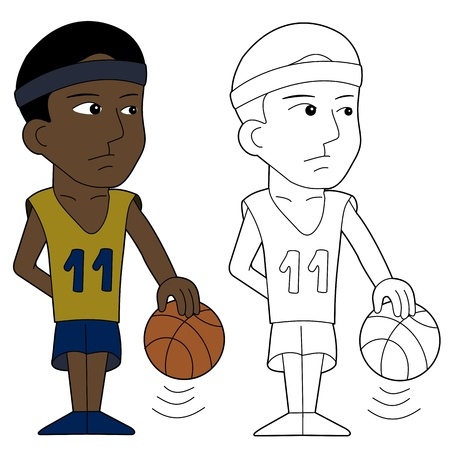 Basketball player illustration, coloring book line-art Vector