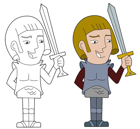 Fantasy fighter character illustration, coloring book line-art Illustration
