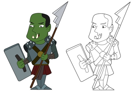 halberd: Orcish warrior illustration, coloring book line-art