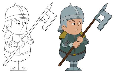 halberd: Fantasy fighter character illustration, coloring book line-art Illustration