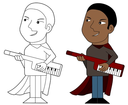 Keytar player illustration, coloring book line-art Vector