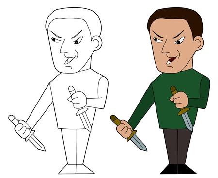 assassin:  Psychopathic assassin illustration, coloring book line-art