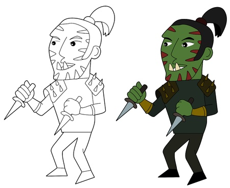 Orcish assassin holding daggers illustration, coloring book line-art