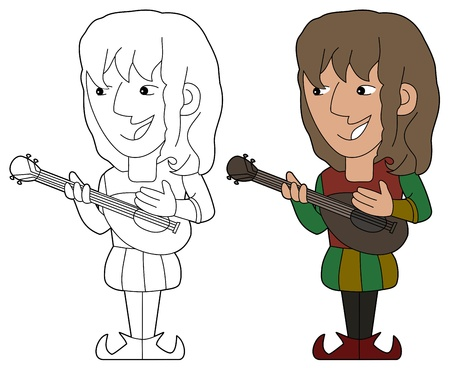 minster: Minstrel playing the mandolin illustration, coloring book line-art