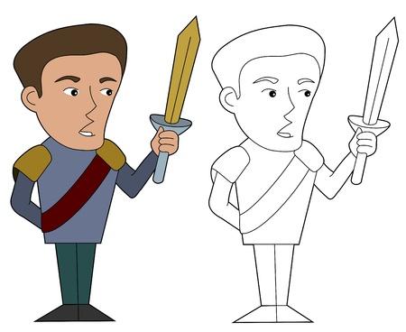 Fantasy prince character illustration, coloring book line-art