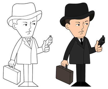 Mobster with gun and suitcase, coloring book line-art Vector