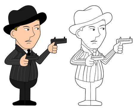 organized crime: Mobster holding revolvers illustration, coloring book line-art