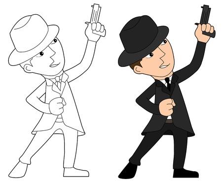 hoodlum: Mobster with gun illustration, coloring book line-art