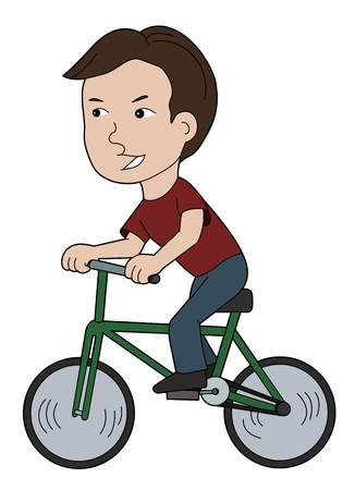 Kid driving a bike illustration
