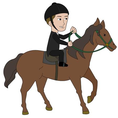 uomo a cavallo: Equestrian illustrato illustrazione su uno sfondo bianco