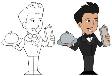 lineart: Smiling waiter illustration, coloring book line-art