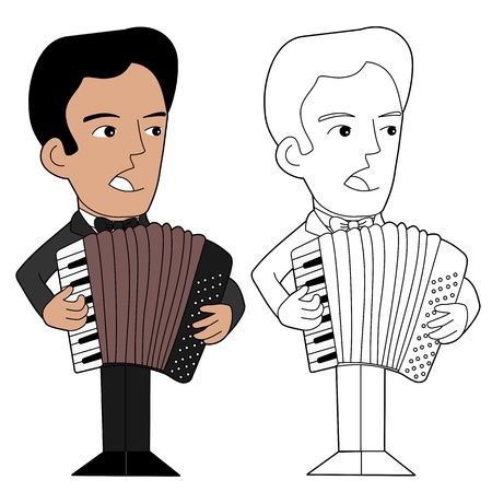 lineart: Accordion piano  player, illustration, coloring book line-art