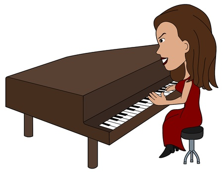 Woman piano player illustration, coloring book line-art Vector