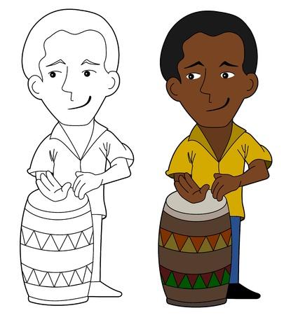 Cartoon drum player illustration, coloring book line-art Illustration