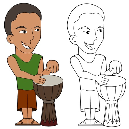 percussionist: Cartoon drum player illustration, coloring book line-art Illustration