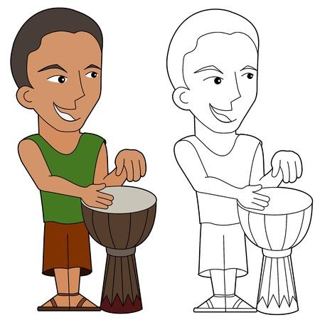 djembe: Cartoon drum player illustration, coloring book line-art Illustration
