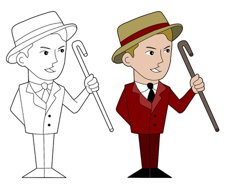 lineart: Entertainment presenter illustration, coloring book line-art Illustration
