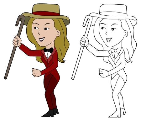 Entertainment female presenter illustration, coloring book line-art