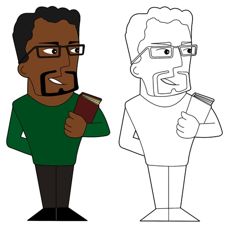 african american male: Teacher cartoon