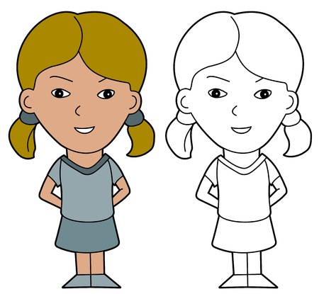 lineart: Formally dressed child illustration, coloring book line-art Illustration
