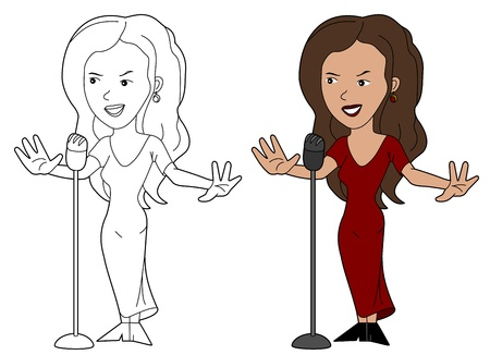 Female singer illustration, coloring book line-art Vector