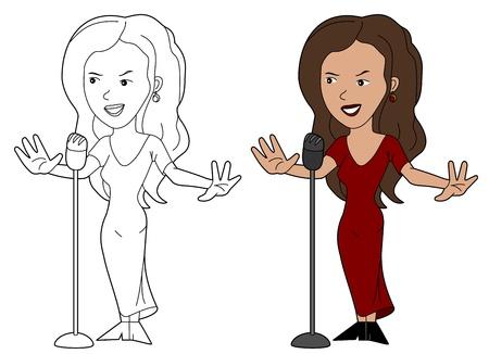 big figure: Female singer illustration, coloring book line-art Illustration