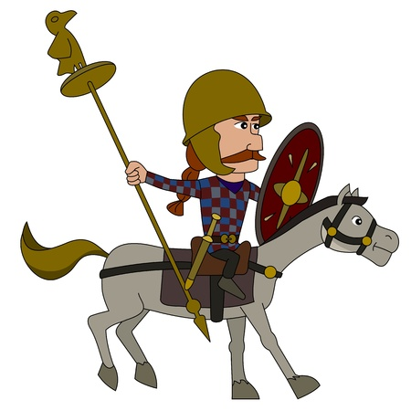 cavalryman: Punic wars - Gaul horseman illustration isolated on a white background Illustration