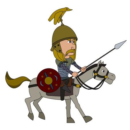 horseman: Guerras P�nicas - Galia jinete ilustraci�n aislado en un fondo blanco Vectores