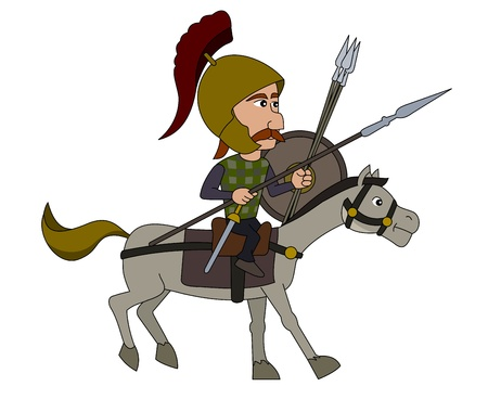 cavalry: Punic wars - Gaul horseman illustration isolated on a white background Illustration
