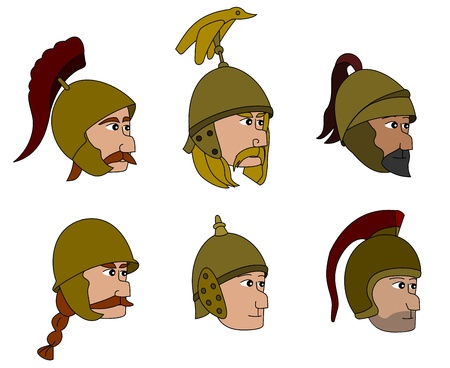 Illustration set of heads and helmets of ancient warriors from the Punic wars era, isolated on a white background Stock Vector - 21599041