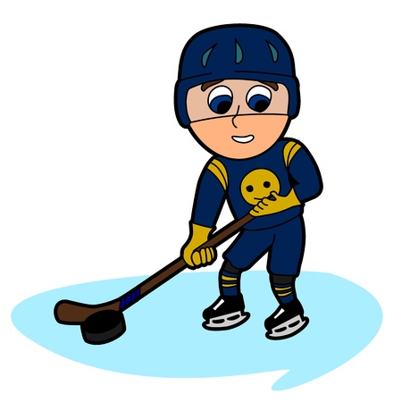 Kid hockeyist, cartoon   illustration isolated on a white backgrounnd Vector