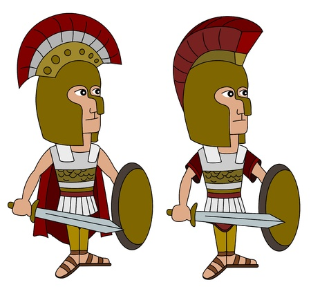 Ancient Greek Spartan army - cartoons   illustration of hoplites on a white isolated background Illustration