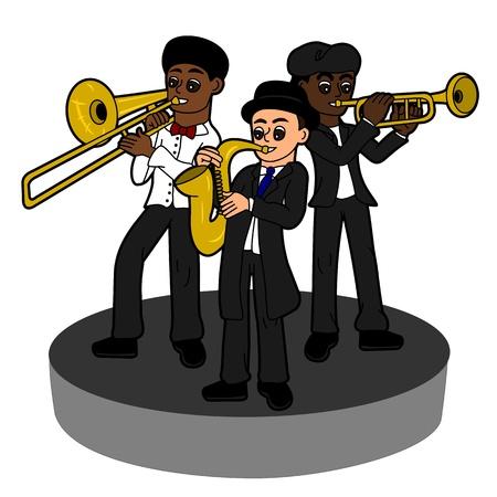 trombon: Trio banda de Jazz, ilustración de dibujos animados aislado en un fondo blanco