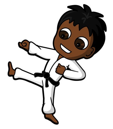 karate: Kid character practicing karate kicking and punching, cartoon   illustration isolated on a white background